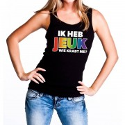 Shoppartners Ik heb jeuk regenboog gaypride tanktop/mouwloos shirt voor dames
