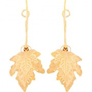 Asmitta Trendy Dangle Gold Plated Leaf Shape Earring For Women
