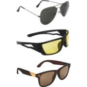 Zyaden Aviator, Wrap-around, Wayfarer Sunglasses(Black, Yellow, Brown)
