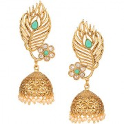 Pourni exclusive Designer American Diamond peacock feathers Shapped Jhumka Earring -KRER23