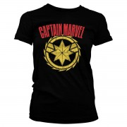 Captain Marvel Distressed Logo Girly Tee