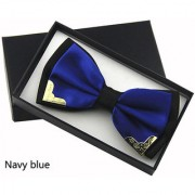 Fashion Metal Bow Ties for Men Women Wedding Party Butterfly Bowtie Gravata Slim Black Bow Tie Cravat - Navy Blue
