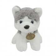 Mr. Bear & His Friends 20CM Stuffed Simulation Animals Dogs Sitting Huskie/Pomeranian/Basset Dog Plush Toys Soft Dolls Chidren Kids Gifts Collection - Husky