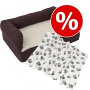 Икономичен комплект: Ортопедично легло + Pawty - одеялце от полар - Размер L + тъмносиво одеялце
