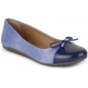 Vilax Shining Snake Patent Ballerinas With Bow Bellies(Blue, Beige)