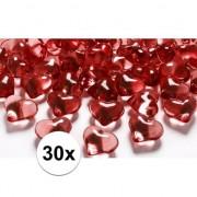 Geen Rode decoratie hartjes diamantjes 30 stuks
