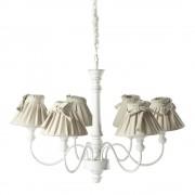 Maisons du Monde Lámpara de araña blanca de madera y algodón blanco 6 brazos Diám. 73 cm ROMANCE