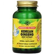 Solgar Standardized Full Potency Korean Ginseng Root Extract - 60 Vegetable Capsules