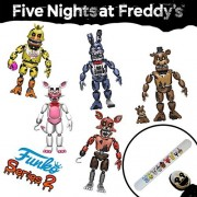 """Funko FNaF 1 2 3 Five Nights at Freddy's Game (Complete 5 Piece Set) Toys 5"""" Inch Nightmare Action Figures & Slap Bracelet - Freddy Fazbear Chica Funtime Foxy Bonnie by Funkp Pop Toys"""
