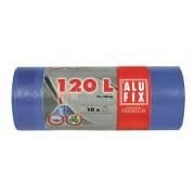 Szemeteszsák, zárószalagos, 120 l, 10 db, ALUFIX, kék (KHT176)