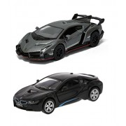 Playking Kinsmart Combo of BMW i8 and Lamborghini Veneno Scale Model 5'' Die Cast Metal, Doors Openable and Pull Back Action Car (Color May Vary)