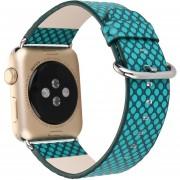 Louiwill Correa De Punto De Onda De Cuero Genuino De 42 Mm Con Conector Para Apple Watch Iwatch Estilo De Banda Deportiva Casual (verde)