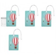 100yellow Luggage Tags- Printed High Quality Gloss Finish PVC Travel/Bag Tag with Silicon Strap- Ideal For Gift-Pack Of 4 Luggage Tag(Multicolor)
