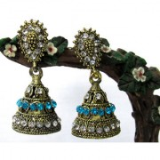 Zakaas White and Sky Blue stone earring