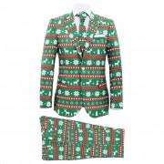 vidaXL 48-as méretű zöld kétrészes karácsonyi öltöny nyakkendővel