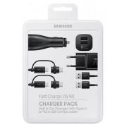 Kit Incarcare Samsung EP-U3100WBEGWW, Incarcator Retea EP-TA20 + Incarcator Auto EP-LN920 + 2 x Cablu Combo MicroUSB/Type-C (Negru)