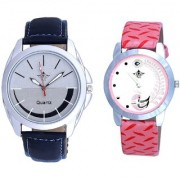 Royal Silver-Black Dial And Pink Peacock Colour Couple Casual Analogue Watch By Vivah Mart
