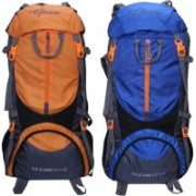 Gleam 0109 Climate Proof Mountain Trekking / Campaign / Backpack 75 ltr Orange & Royal Blue with Rain Cover set of 2 Rucksack - 75 L(Multicolor)