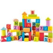 Woody Pasztell Építőkockák betűkkel és számokkal