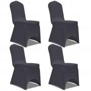vidaXL 4 db nyújtható szék huzat antracit