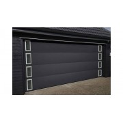 NAO Porte de garage sectionnelle avec hublots rectangles NAO L 1900 mm x H 2000 mm