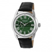 Heritor Automatic Marcus Marbled-Dial Leather-Band Watch - Silver/Forest Green HERHR5903