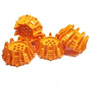 Lego Parts: Star Wars Wheels Hard Plastic with Small Cleats and Flanges - (Pack of 4 - Orange)
