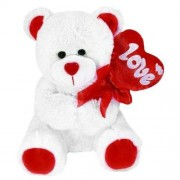 White Teddy Bear holding red Balloon Love Heart