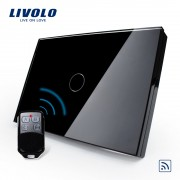 Intrerupator wireless cu touch Livolo din sticla si telecomanda inclusa-standard italian, negru