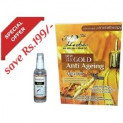 The Herbs New 21 K Gold Anti Ageing Facial Kit 6 In 1 Action (145 gm)