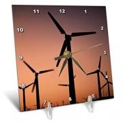 "3dRose 3D Rose USA-California-Palm Springs-Wind Turbines At Sunset Reloj de computadora, 6"" x 6"