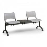 Kovo Praktik Plastové lavice VISIO, 2-sedák + stolek, černé nohy šedá