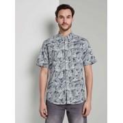 TOM TAILOR Overhemd met print, navy white big leaves design, XXL
