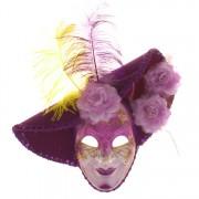 Venetiaans masker paars met hoed
