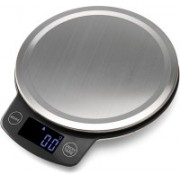 ALPHA Stainless Steel Round Sleek Digital Kitchen Scale with White Back light - KS 886 Weighing Scale(Black)