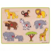 Puzzle din lemn incastru Safari, 9 piese, 3 - 7 ani