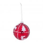 Xenos Kerstbal rood rendier met boom