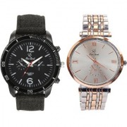 Rico Sordi Men's Premium Leather And Metal Watch Combo Pack Of 2