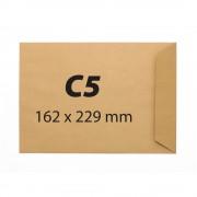 Plic pentru documente din hartie kraft C5, 162 x 229 mm, 90 g/mp, banda silicon, 500 bucati/cutie, maro