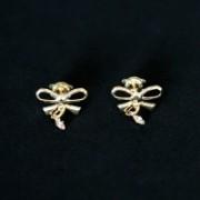 Earring Gold Plated Jewelry Semi Glitter Bow with Rhinestone Zircon Stones