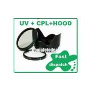 52MM LENS HOOD + SAFTEY UV + CPL LENS FILTER FOR NIKON D5100 18-55MM D3100 D3200