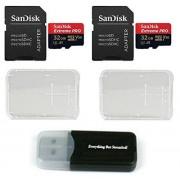 SanDisk Extreme Pro Tarjeta de memoria micro, 32 GB, 4 K, (SDSQXCG-032G-GN6MA), clase 10, U3, V30, A1, 32 G, MicroSD HC con 2 estuches de plástico y 1 lector de tarjetas Everything But Stromboli (TM)