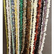 eshoppee 35 string natural stone Chips Cabochon Gemstone Gems Loose Beads Strand mala necklace set of 14 stones tiger eye lapis lazuli carnelian black white ranbow moon stone amethyst smoky quartz green jade rose quartz crystal citrine peridot aquamarine.