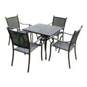 Set mobiler gradina/terasa, masa patrata si 4 scaune, aluminiu, culoare bronz, masa 80x80cm, Mossel, MN0195307, Hascevher
