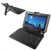 Universeel 9.7 inch Tablet PC PU leren Hoesje met kunststof USB toetsenbord (zwart)