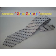 Stylish design-Black on Silver Silk Tie- Handmade in Thailand