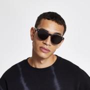 River Island Mens Black matte preppy round sunglasses (One Size)
