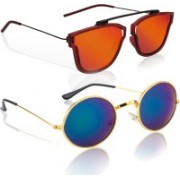 Knotyy Retro Square, Round Sunglasses(Orange, Blue)