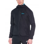 ASICS Windbreaker Jacket Black-Blue Logo