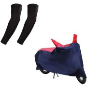 HMS Bike body cover with mirror pocket for Hero Splendor Plus+ Free Arm Sleeves - Colour RED AND BLUE